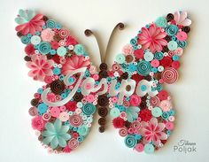Quilled butterfly, quilled letters, quilled name, quilling by Tihana Poljak