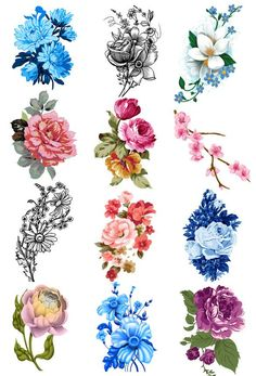 Many Colorful Floral Tattoo Designs
