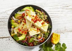 This vibrant and zesty dish uses the South American tradition of curing fish using citrus juices which we think gives a fresh and tangy tofu treat.