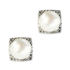 Janjan Studs Fresh water pearl and cubic zirconia, set in rhodium-plated sterling silver. #cubiczirconia #ciro #jewellery #pearl #earring #silver #bridal http://www.cirojewellery.com/collections/bridal/products/janjan-studs
