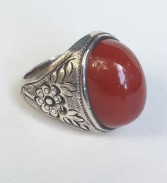 Silver and Carnelian Victorian Ring by WhirleyShirley on Etsy