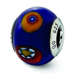 Sterling Silver Italian Blue wDecorative Accents Glass Bead Charm For Pandora  European Bracelets ** Check this awesome product by going to the link at the image.