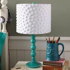 Pottery Barn teen chenille dot lamp shade