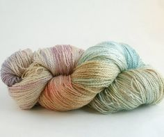 Knitting yarn Seacell Silk hand dyed KISSES in MARNIE 700 yards. $31.50 USD, via Etsy.
