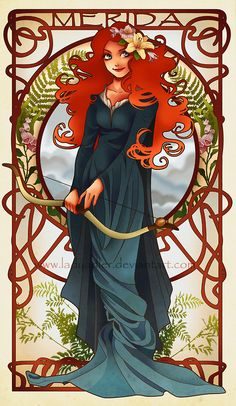 Determination by *LadyAdler on deviantART. Merida, from Disney's Brave. Flowers are day lily (Chinese symbol for mother), ferns (means 'magic'), foxgloves (means 'insincerity') and gladiolus (means 'strength of character').