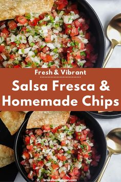 Juicy tomatoes, zesty garlic, spicy jalapeño, and tangy lime make this salsa fresca something special. In 15 minutes or less, you could be relaxing with a bowl of this, some tortilla chips, and a drink in hand. Ahh, bliss. #picodegallo #salsafresca #homemadesalsa Mexican Food Recipes, Beef Recipes, Vegan Recipes, Jalapeno Recipes, Side Recipes, Vegan Meals, Vegan Food, Healthy Recipes On A Budget, Healthy Food List