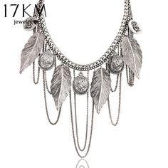 17KM New Design hot Fashion Charm Vintage choker necklace Round coin Rose Leaf Tassel Chain necklaces statement for women www.peoplebazar.net    #peoplebazar