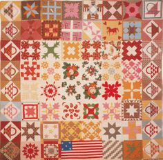 Friendship Quilt, 1857. Made by members of a church group for Joseph Colesworthy. Falmouth, Maine.