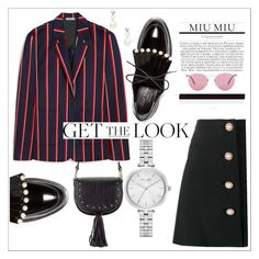 """Getthelook"" by rushanaofficials on Polyvore featuring Mulberry, Miu Miu, Robert Clergerie, Kate Spade, Inner Circle Jewelry, Oliver Peoples and look"