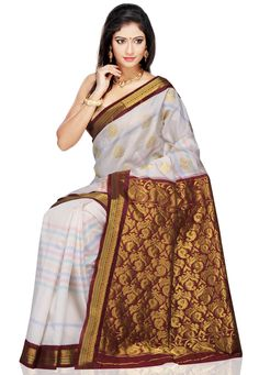 Off White and Maroon Art Silk Saree with Blouse: SRSA60