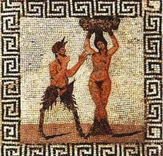 Roman mosaic of Pan and Hamadryad, a Greek mythological being that lives in trees , found in Pompeii, from the Farnese Collection, inv no Naples Archaeological Museum Ancient Rome, Ancient Greece, Ancient Art, Ancient History, Pompeii Ruins, Pompeii And Herculaneum, Rome Antique, Art Antique, Art Romain