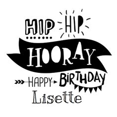 Hippe verjaardag in handlettering / typografie stijl. Helemaal van nu in zwart-wit. Vul je naam van de jarige en je hebt een super leuke kaart!