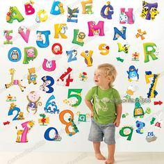 Adesivi Da Muro Lettere Animali Grandi Alfabeto + Numeri Per Asilo Bambini