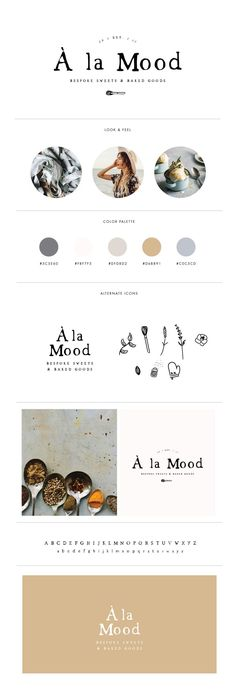 Earthy, anthro-inspired brand & logo for baker A La Mood by designers Davey & Krista. This mood board features a neutral color palette, lifestyle and food brand design for a clean, modern and minimal website layout. Web Design, Fashion Logo Design, Fashion Branding, Fashion Typography, Graphic Design, Food Design, Typography Logo, Fashion Designers, Mehndi Designs