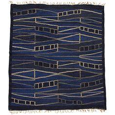 Unique Flat-Woven Carpet with Modulating Geometric Pattern by Brita Grahn