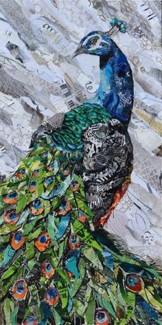 Original collage from Magazine paper. Original collage from Magazine paper. Paper Mosaic, Paper Collage Art, Magazine Collage, Peacock Art, Peacock Images, Ap Art, Arte Pop, Recycled Art, Mix Media