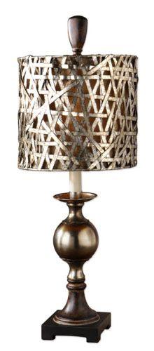 One Light Buffet Lamp, Antique Brass, Bronze, Wood, Contemporary, Table Lamp