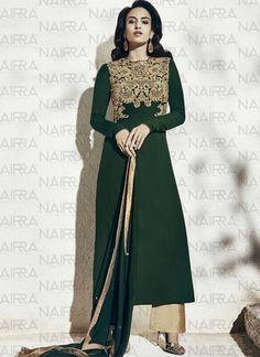 Bottle Green Embroidery Sequins Work Lace Border Georgette Casual Pakistani Suit http://www.angelnx.com/Salwar-Kameez/Pakistani-Suits