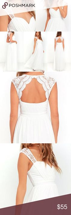 LULUs NOVELA WHITE LACE MAXI DRESS SIZE SMALL Wore it this past weekend for about two hours for my wedding ceremony. The dress is absolutely beautiful! No rips, stains, etc. Lulu's Dresses Maxi