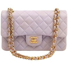 Chanel Classic Lambskin Bag in Lavender ❤ liked on Polyvore