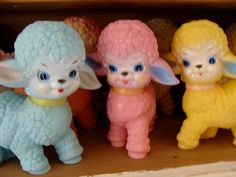 Vintage Blue Kitsch1950s Squeak Toy Lamb by reginasstudio on Etsy, $46.00