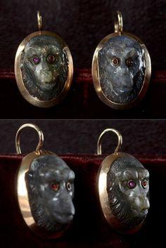 Victorian Carved Labradorite Monkey Earrings
