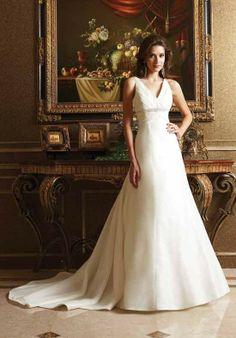 A Line V Neck Sleeveless Empire Waist Beading Floor Length Attached Taffeta Wedding Dress