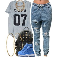 A fashion look from January 2015 featuring One Teaspoon jeans, MCM backpacks and Jennifer Meyer Jewelry earrings. Browse and shop related looks.