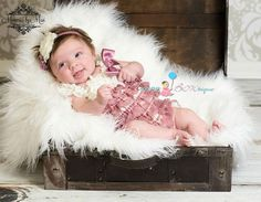 Dusty Ivory Rose Petti Romper romper baby girls by HappyBOWtique