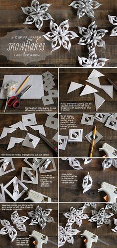 Paper Snowflake free diy tutorial - Christmas ornaments, winter and holiday decor. Fun craft for older kids on a snow day! Let them Color the paper first or add glitter or rhinestones! #funcrafts