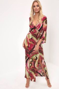 c9a657666e5 Red Wrap Front Maxi Dress Womens Ladies New UK Summer Boho Casual Size 8-14