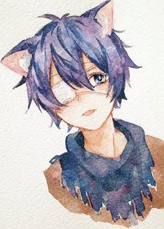 Manga Anime, Anime Neko, Manga Art, Kawaii Chan, Kawaii Art, Watercolor Sketch, Watercolor Paintings, Anime Undertale, Anime Base