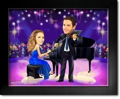 Musician Couple Caricature from Photos