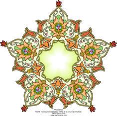 هنر اسلامی - تذهیب فارسی سبک ترنج و شمس - تزئینات از طریق نقاشی و یا مینیاتور - 87 | گالری هنر اسلامی و تصویر
