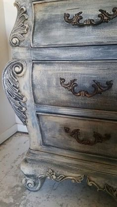 We did this with Annie Sloan graphite, Paris gray, and old ochre then finished with a dark wax glaze.~~~I LIKE this but would not use Annie Sloan as it's too expensive!