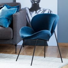 Konrad #Loungestol #stol #blå #velur #kremmerhuset Lounge, Living Room, Chair, Furniture, Home Decor, Style, Rome, Airport Lounge, Swag