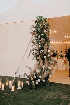 Floral Tent Entry for a wedding reception. By Keep Floral at Columbine Country CLub. Outdoor Wedding Reception, Marquee Wedding, Tent Wedding Receptions, Outdoor Wedding Canopy, Backyard Tent Wedding, Wedding Tent Decorations, Wedding Centerpieces, Centerpiece Ideas, Wedding Bouquets
