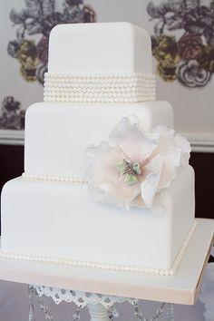 White Vintage Square Wedding Cake Peals and peony