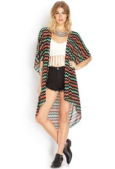 Whimsical Zigzag Kimono | FOREVER21 #ForeverFest #Neon #Kimono