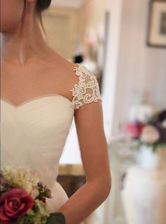 "Custom Cap Sleeve Sweetheart Tulle Wedding dress. the only ""sleeve"" i would ever consider wearing!"