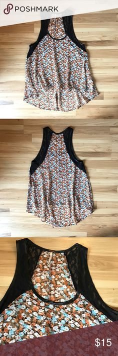 Free People - high/low sleeveless top Lace and floral sleeveless low-high tank top Free People Tops Camisoles
