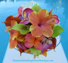 I have found my wedding bouquet and colors all in one pic!! This is IT!!! Gotta have my hibiscus & plumeria's in it...... <3 <3