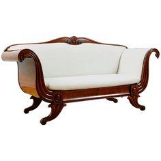 Biedermeier Upholstered Sofa in Mahogany, Denmark, c. 1840