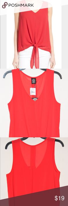 """🔴 BOBEAU Women's Small Red Tie Front V-Neck Top 5 for $25 Sale! NEW WITH TAGS. Knotted ties gather the front hem to bring an easy going, beachy attitude. Sleeveless crepe top. Center inset & pleated shirttail back V-neck. Sleeveless. Partially lined Size, Small. Color, Red. Made of 100% Polyester. Hand Wash. Made in the U.S.A. MEASUREMENTS   Bust: 38"""".  Waist: 40"""".  Hip: 40"""".  Front Length: 22"""".  Back Length: 26 1/2"""".     ‼️ I offer 10% discount when you buy 2 or more items from my closet…"""