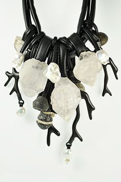 Monies - Mountain Crystal, Ebony, Ceramic, Pearl Necklace