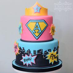 Wonder Woman Theme cake by K Noelle Cakes