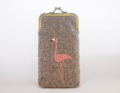 iPhone Case iPhone sleeve gadget case - Embroidery Flamingo  ( iPhone 5s iPhone 5c Samsung Galaxy S4 Size available) on Etsy, $34.90