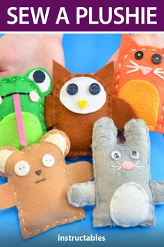 Make a fun and customizable stuffed toy also called a plush, plushie, or stuffie using a downloadable pattern and hand sewing techniques. #Instructables #kids #activity #beginner #crafts