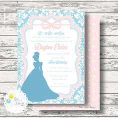 Cinderella Inspired Invitation for Birthday Party or Baby Shower - Girls Princess DIY Printable Invite by BeeAndDaisy