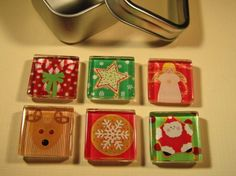 6 Fridge Magnets Christmas Decorations Set of 6 by DLRjewelry, $12.00
